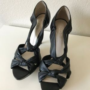Aldo Black Bow Cross Strap High Heels SZ9
